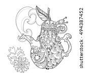 honey tea pot pear doodle with... | Shutterstock .eps vector #494387452