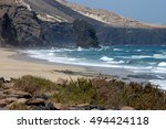 vegetation and coast cofete on... | Shutterstock . vector #494424118
