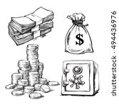 Finance  Money Set. Sketch Of...