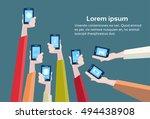 hands group hold cell smart... | Shutterstock .eps vector #494438908