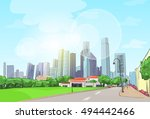 city skyscraper sketch view... | Shutterstock .eps vector #494442466