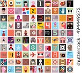 art collage of one hundred... | Shutterstock .eps vector #494449372