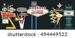 classic american signboards set ... | Shutterstock .eps vector #494449522