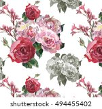 yellow peonies roses and lilly... | Shutterstock . vector #494455402