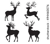collection of  christmas  deer... | Shutterstock .eps vector #494460076