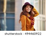 young brunette woman portrait... | Shutterstock . vector #494460922