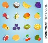 isometric fruit set icons.... | Shutterstock . vector #494470846