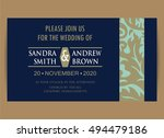 navy blue wedding invitation... | Shutterstock .eps vector #494479186