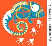 chameleon   Shutterstock .eps vector #494495842