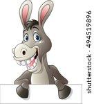 Cartoon Funny Donkey Holding...