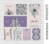 set of tropical wedding cards.... | Shutterstock .eps vector #494524375