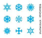 blue snow flake winter vector... | Shutterstock .eps vector #494549806