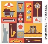 new york city  vector flat... | Shutterstock .eps vector #494565832