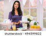 portrait of party planner home... | Shutterstock . vector #494599822