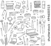 hand drawn cosmetic tools.... | Shutterstock .eps vector #494600515