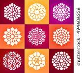 set of nine vector mandala... | Shutterstock .eps vector #494606326