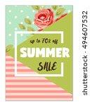 cute seasonal sale flyer... | Shutterstock . vector #494607532