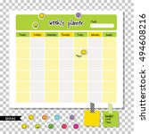 weekly planner. note paper ... | Shutterstock .eps vector #494608216