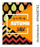 cute seasonal sale flyer... | Shutterstock . vector #494608762