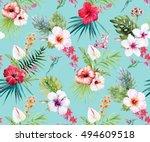 Watercolor Tropical Flower...
