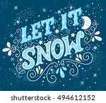 let it snow. christmas retro... | Shutterstock .eps vector #494612152
