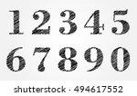vector hand drawn numbers...   Shutterstock .eps vector #494617552