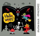 halloween graveyard cartoon... | Shutterstock . vector #494620402