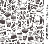 fast food seamless pattern made ... | Shutterstock .eps vector #494634112