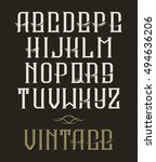 hand drawn vintage typeface.... | Shutterstock . vector #494636206