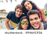 young people having fun in... | Shutterstock . vector #494641936