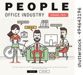 modern office people industry.... | Shutterstock .eps vector #494643196