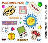 game patch set  vintage gamer... | Shutterstock .eps vector #494643505