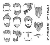 set of men's hairstyles ... | Shutterstock .eps vector #494650315