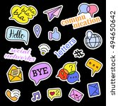 fashion patch badges. social... | Shutterstock .eps vector #494650642