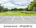 empty parking lot against green ... | Shutterstock . vector #494668516