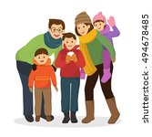 happy family in colorful winter ... | Shutterstock .eps vector #494678485
