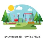 playground illustration in flat ... | Shutterstock .eps vector #494687536