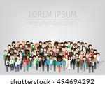 large group of different people.... | Shutterstock .eps vector #494694292
