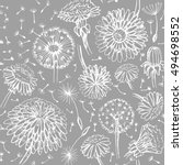 floral  pattern with doodle... | Shutterstock .eps vector #494698552