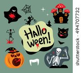 halloween graveyard cartoon... | Shutterstock . vector #494707732