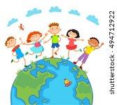 globe kids on globe.... | Shutterstock .eps vector #494712922
