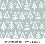 christmas trees and snowflakes  ... | Shutterstock .eps vector #494713618