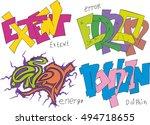 set of four graffiti sketches   ... | Shutterstock .eps vector #494718655