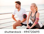 close up portrait of athletic... | Shutterstock . vector #494720695