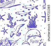 ink hand drawn marine world... | Shutterstock .eps vector #494721385