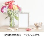 mockup with beautiful spring... | Shutterstock . vector #494723296