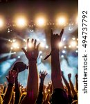 silhouettes of concert crowd in ... | Shutterstock . vector #494737792
