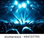 silhouettes of concert crowd in ... | Shutterstock . vector #494737795