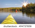 Canoeing at a lake in Algonquin Provincial Park, Canada