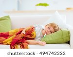 sick kid with runny nose and... | Shutterstock . vector #494742232